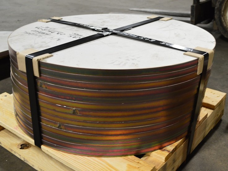 Palleted stack of plasma cut steel discs