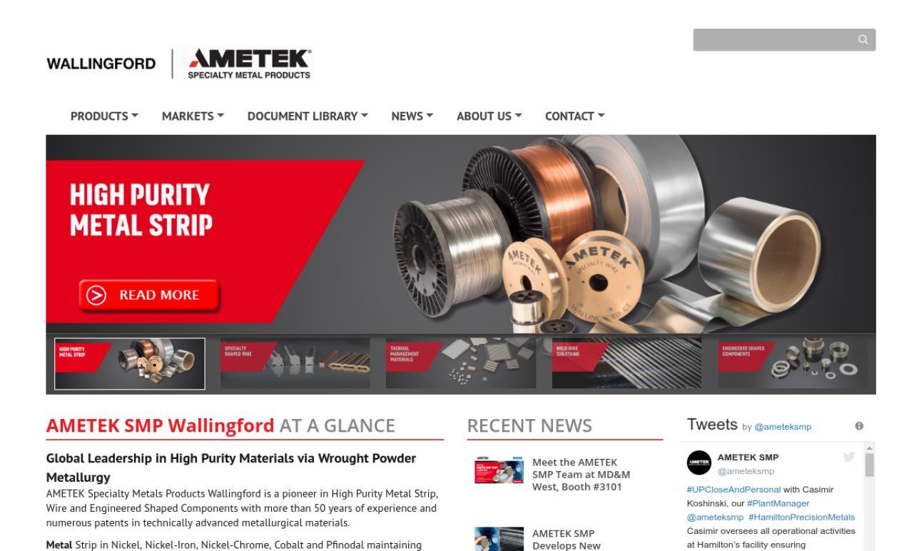AMETEK SMP Wallingford | Steel Service Centers